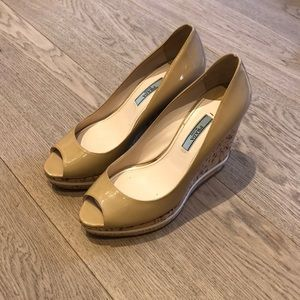 Prada Nude (Tan) Patent Leather Wedge shoes